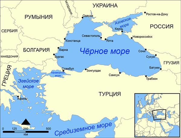 Расположение Чёрного моря
